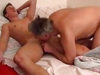 older homo daddy gives young boy a fellatio in bed