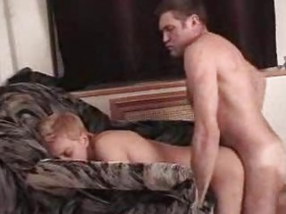 gay daddy bones youthful twink on sofa doggy style