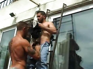 pumped up gay dude drilled handyman outdoors