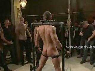 sexy gay boy cuffed in leather fucked in